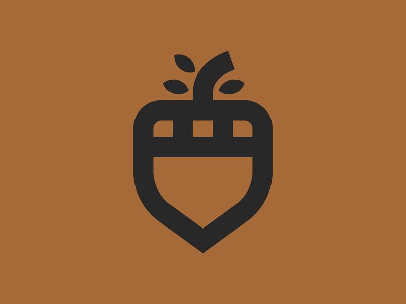 Acorn shield fall autumn tree acorn minimal illustration retro nature thick lines icon logo
