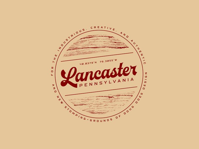 I'M HOME distressed script retro location pennsylvania lancaster logo typography nature badge