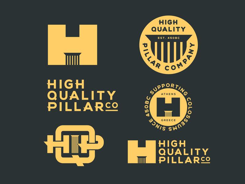HIGH QUALITY PILLAR CO. colosseum parthenon greece athens support post colomn pillar identity flash icon badge logo hqp h