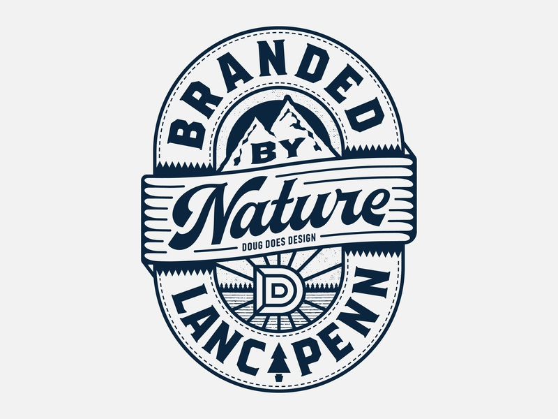 Branded By Nature pine tree mountain lancaster outdoors patch pennsylvania illustration retro vector typography nature thick lines brand badge logo
