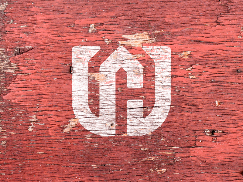W + H + House Monogram wood background wood renovation carpentry carpenter monogram wh w thick lines minimal brand icon badge logo