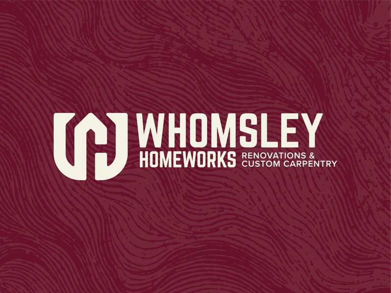 Whomsley Logo Horizontal texture horizontal negativespace wh carpenter carpentry renovation wood minimal brand icon badge logo