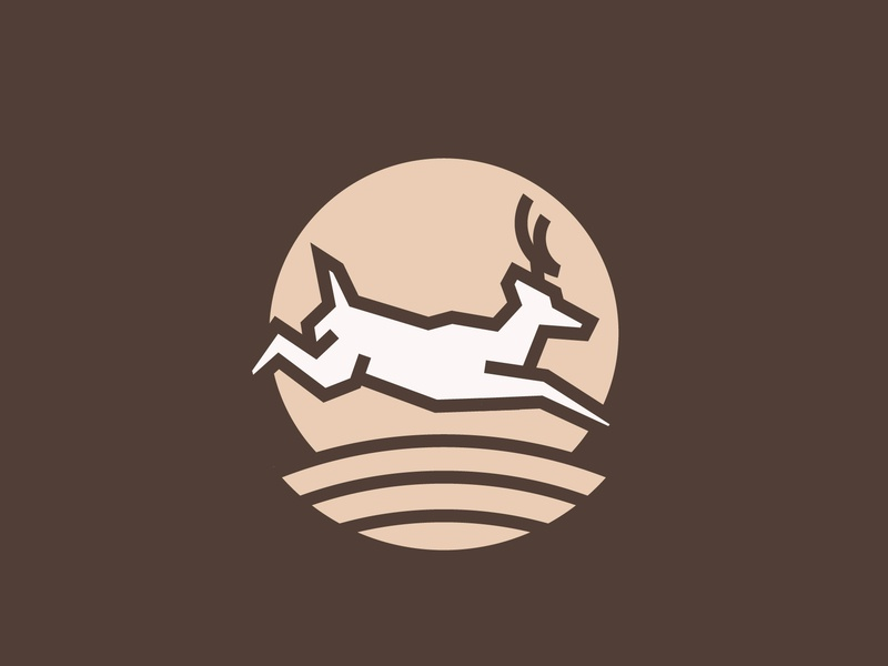 Deer Logomark logomark antlers field deer whitetail nature retro thick lines minimal icon badge logo