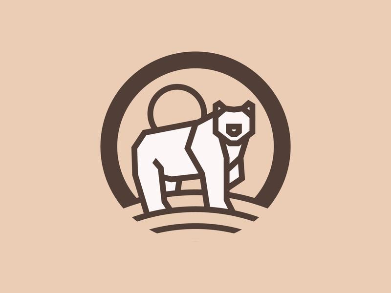 Bear animal logo sun grizzly bear monoline illustration nature thick lines minimal badge logo