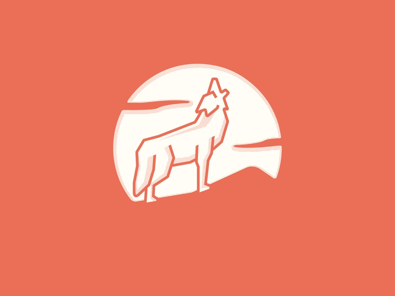 Coyote linework halftone thick lines clouds howl moon coyote icon badge logo