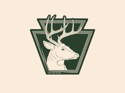 Keystone 8 Point Buck - Sticker wildlife hunting pennsylvania keystone antlers deer whitetail retro illustration vector nature badge