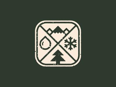 Wilderness Defense Icon wilderness explorer adventure protection weather rain water mountain snowflake thick lines nature brand icon badge logo