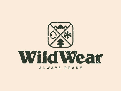 WildWear Logo gear adventure mountains elements snow rain pine tree typography thick lines nature brand icon logo wild