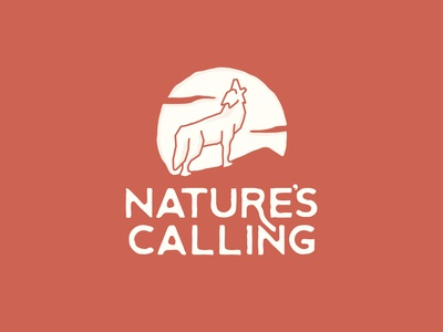 Nature's Calling typogaphy dot pattern desert moon howl coyote thick lines nature
