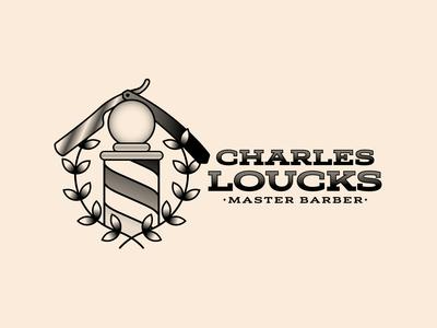 Charles Loucks Barber Main Logo straight razor flash barbershop barber retro thick lines brand logo