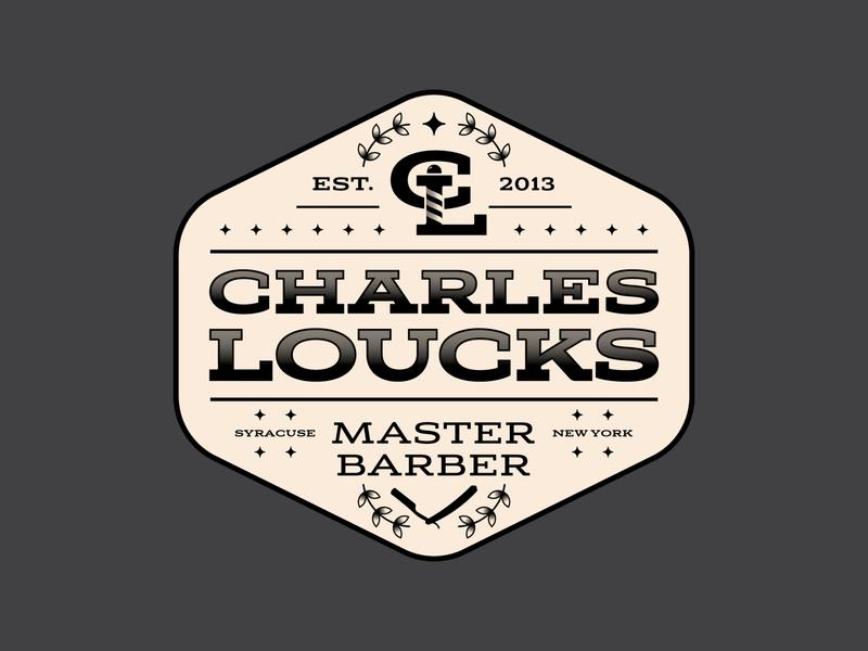Charles Loucks Brand Badge monogram new york syracuse barbershop barber retro brand badge logo