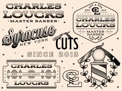 Charles Loucks Brand Flash Sheet monogram tattoo flash flash sheet typography straight razor barber shop barber retro brand icon badge logo