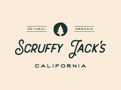 Scruffy Jack's Logo tagline organic beard care beard oil mens fashion grooming pine tree nature brand logo