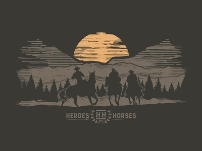 Heroes And Horses Illustrated Apparel apparel design heroes horseback horse montana mountains forest cowboy veteran illustration retro nature