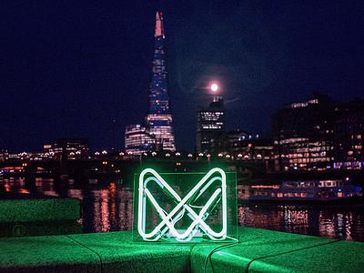 Monese neon mark embankment thames branding the shard identity banking fintech london neon monese