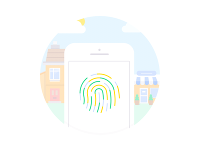 Monese – Touch ID bank finance app banking fintech illustration monese touch id
