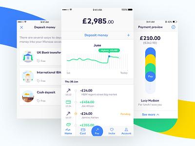Monese IOS ux ui london fintech rebrand branding ios illustration account payments banking monese