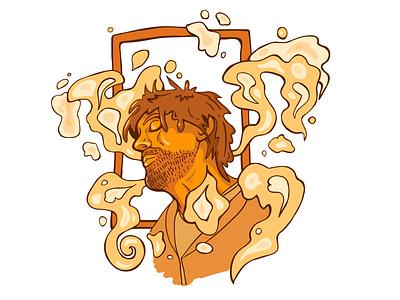 Vanya trippy freestyle portrait vector illustration