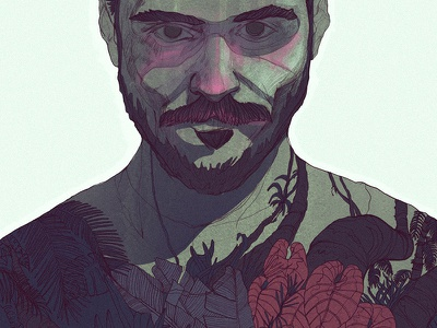 Into the woods expression tattoo jungle green plant man digital painting portrait illustration