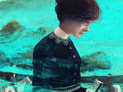 Mansfield Park victorian horses park animals woman drawing digital painting folio society illustration jane austen