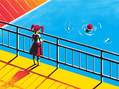 Water under the bridge minimalist construction bridge landscape painting digital print water fish colours girl screenprint