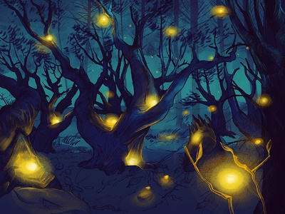 Firelfy Forrest label artwork photoshop fantasie eerie tree cold blue night firefly forrest illustration wacom