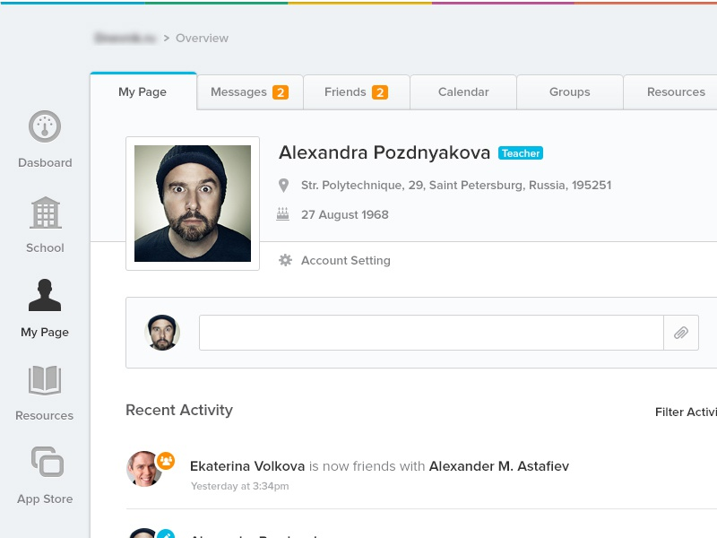 Mypage dashboard admin simple clean tabs grades book user profile