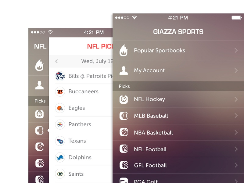 Sports App iphone 5 ios7 app design application simple clean
