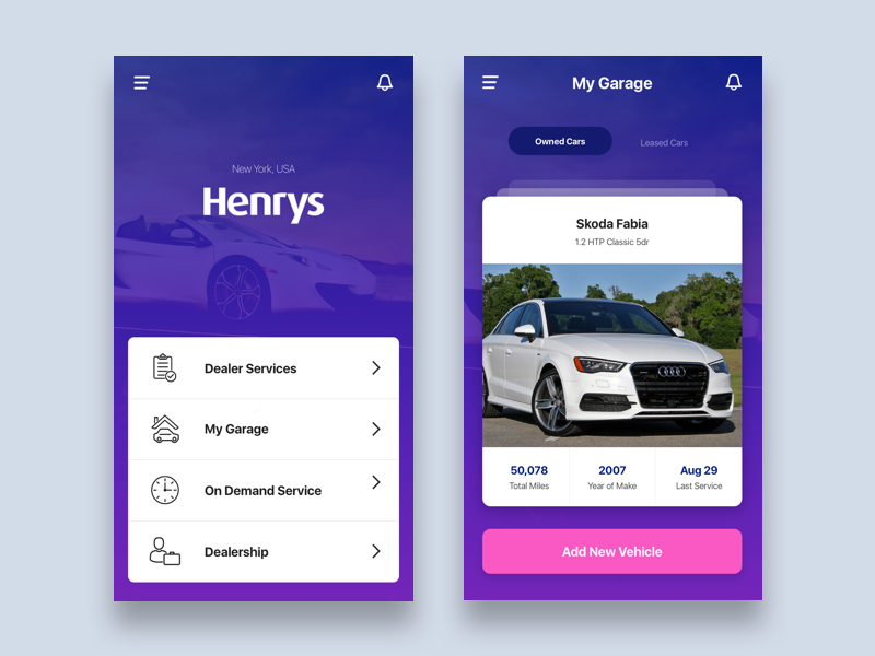 Car Dealer Mobility icons icon slide auto app design interface flat ux ui
