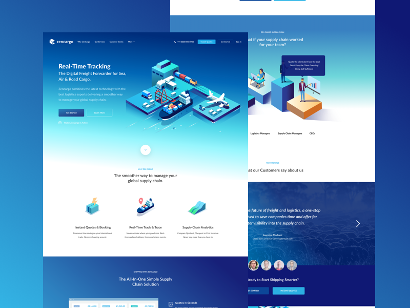 ZenCargo Marketing Page icons icon interface design visual page landing website homepage