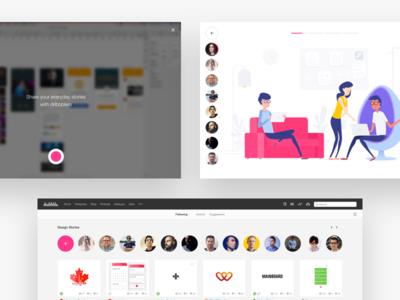Dribbble Stories ux ui design concept dribbble redesign stories instagram