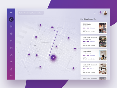 Find restaurants near by interface web food restaurant search map ux ui