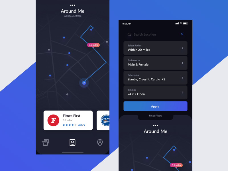 Iphone X Notch Concept profile discover map search interface app ios trainer gym iphonex