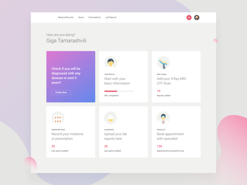 Medical Report Dashboard landing homepage icons illustration interface user ux ui medical reports admin dashboard