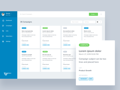Campaigns Lists admin sms mails manage lists dashboard campaigns