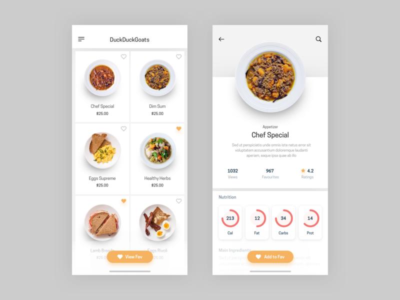Restaurant Menu visualization interface ios mobile ui mobile menu food app food