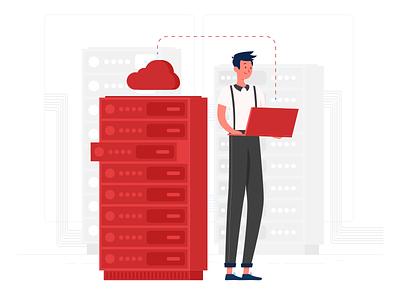 Cloud Server Setup cloud internet download server illustration design illustration