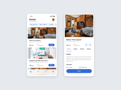 Hotel Booking App rating profile app interface mobile app ios detail page cards listing app hotel booking