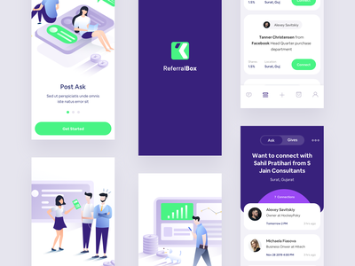 Request Connection steps walkthrough cards ui cards android app ios illustration app design mobile app app