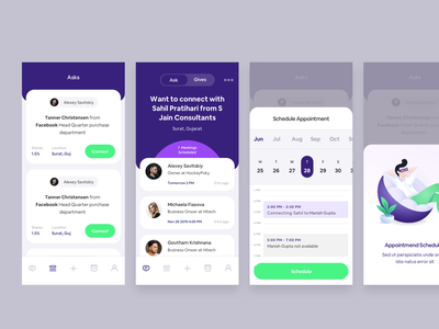Schedule the meeting mobile ui cards app illustration calendar appointment booking schedule ios app mobile app