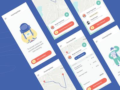 Food Runner App track track order map interface illustration delivery app app food android app iosapp mobile apps mobile design mobile ui