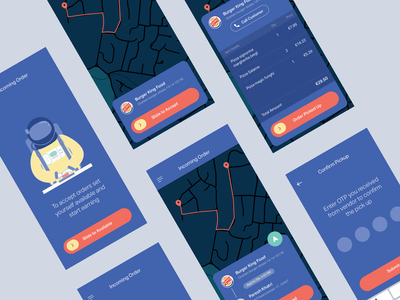 Food Runner App Dark mobile app design otp illustration cards map ios app android app food app delivery app track delivery food mobile app