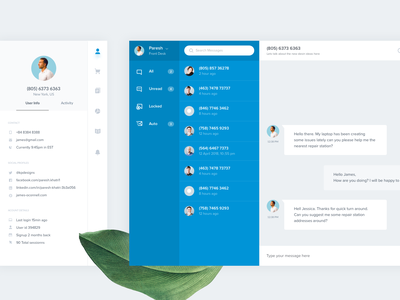 Customer Chat userinterface admin dashboard admin user profile sidebar messaging app message app messaging call chat