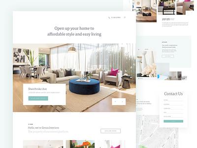 Zenza Interiors decoration exterior interior homepage landing page form slider web webdesign website