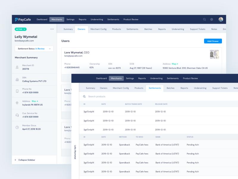 Payment Gateway - Merchant Detail sidebar ui listing cards table users merchants gateway payment admin dashboard