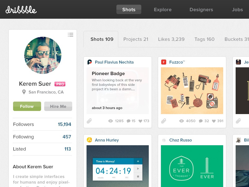 Dribbble Redesign Full dribbble redesign homepage profile page simple clean