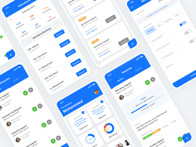 Employee App - HR flat process cards ios app user experience mobile app mobile hr software hr