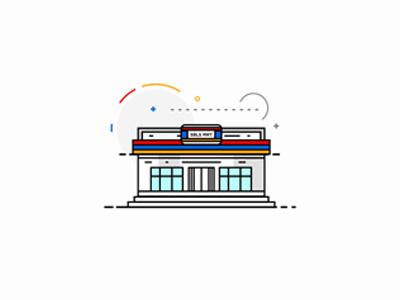 Indomaret minimarket ui ux creative bus stop idea icon vector flat design graphic design