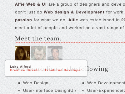 Tooltip diplay clean typography