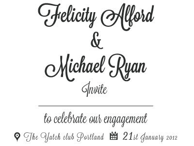 Engagement invite type typography sleek wedding